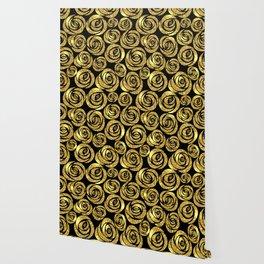 Golden Flowers on Black Background Wallpaper