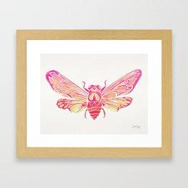 Summer Cicada – Pink Palette Framed Art Print