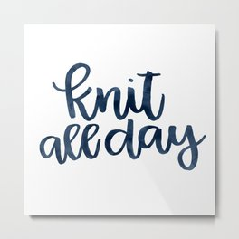 Knit All Day - Navy Metal Print