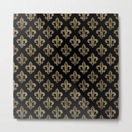 Black & Gold Royal Pattern Metal Print