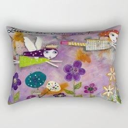 LIVE IN THE SUNSHINE, mixed media art Rectangular Pillow