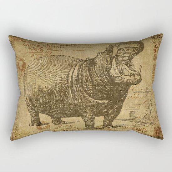 Vintage retro Hippo wildlife animal africa Rectangular Pillow