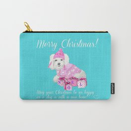 Bichon Frise pink christmas holiday themed pattern print pet friendly dog breed gifts Carry-All Pouch