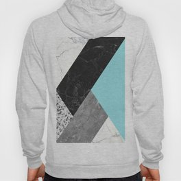 Black and White Marbles and Pantone Island Paradise Color Hoody