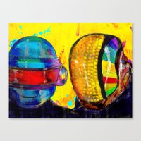 daft punk Canvas Prints featuring Daft Punk by Archan Nair