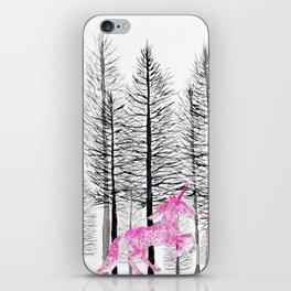 Pink unicorn in the wood iPhone Skin