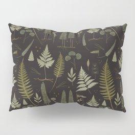 Fern pattern black Pillow Sham