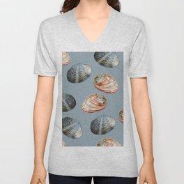 seashell clams grey Background Unisex V-Neck