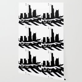 City Scape in Black and White Wallpaper