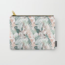 pink and green palm leaf floral Carry-All Pouch