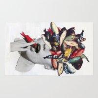 eugenia loli Area & Throw Rugs featuring Ωmega-3 by Eugenia Loli