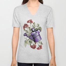 Floral with Watering Can Unisex V-Neck