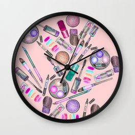 Girly Girl Hand Painted Watercolor Makeup on Pink Wall Clock
