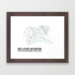 Red Lodge Mountain, MT - Minimalist Trail Art Framed Art Print