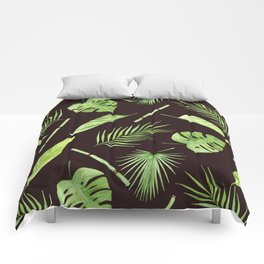 watercolor pattern tropical leaves Comforters