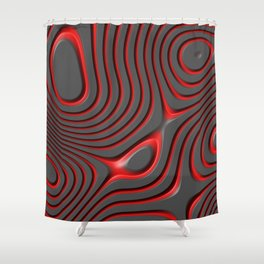 Organic Abstract 01 RED Shower Curtain