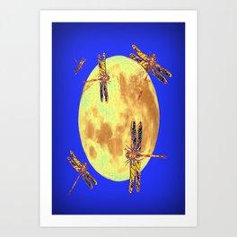 Golden Dragonflies Love Moon Light Art Print