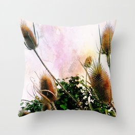 Thistles on a spring sky Throw Pillow
