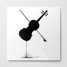 Flowing Fiddle Music Metal Print