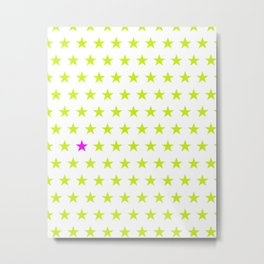 Lime green stars pattern and one single purple star Metal Print