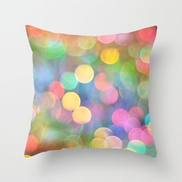 Rainbow Bokeh I Throw Pillow