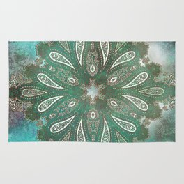frosty paisley star in moss Rug