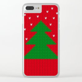 Knitted Christmas tree Clear iPhone Case