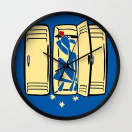 Blue (is shoved in a locker) Wall Clock