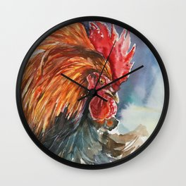 Watercolor hand painting Cock Wall Clock