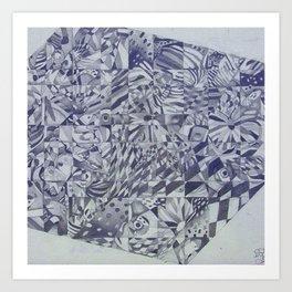 Cubed Butterflies Art Print
