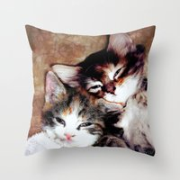 best friends Throw Pillows featuring best friends by Lydia Cheval