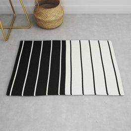 Two Tone Stripes - Black and White Rug