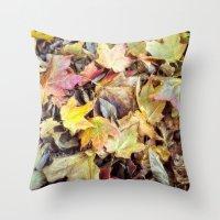 blanket Throw Pillows featuring autumn blanket by Bonnie Jakobsen-Martin