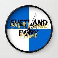 pony Wall Clocks featuring Shetland Pony by mailboxdisco