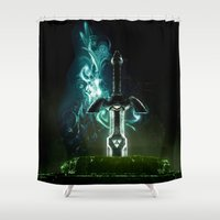 hyrule Shower Curtains featuring Savior of Hyrule by qualitypunk