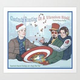 Superheroic Seasons Greetings (Chestnuts Roasting) Art Print