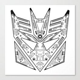 Decepticon Tech Black and White Canvas Print