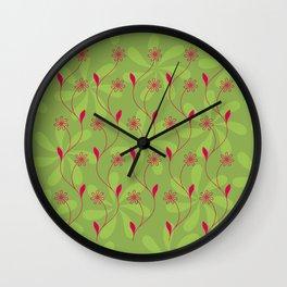 Flowerline – green Wall Clock