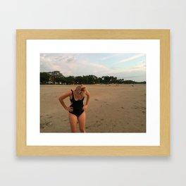 Girl on Beach Framed Art Print