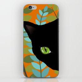 Black Kitty Cat In The Garden iPhone Skin