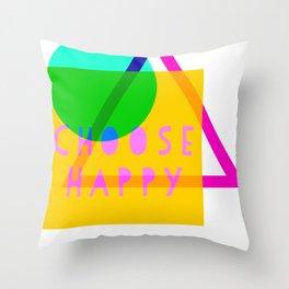 Choose Happy Modern Neon Geometrics Throw Pillow