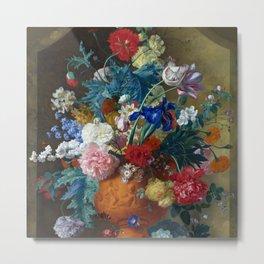 """Jan van Huysum """"Flowers in a Terracotta Vase"""" Metal Print"""
