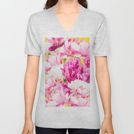Beauties of nature - large pink flowers on a yellow background Unisex V-Neck