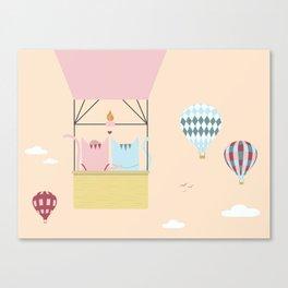 Traveling Tabbies: Hot Air Balloon Canvas Print