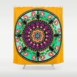 round flower collage Shower Curtain