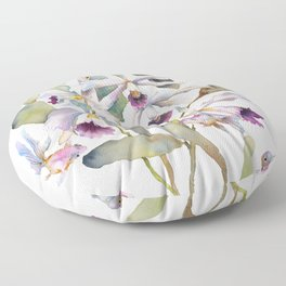 Cattleya Orchid White and Purple with Goldfish Muted Pallet Botanical Design Floor Pillow
