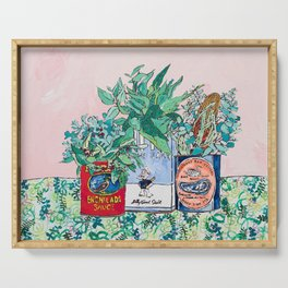 Jungle Botanical in Colorful Cans on Pink - Still Life Serving Tray