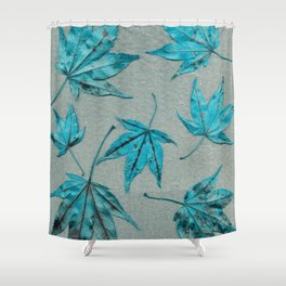 Japanese maple leaves - turquoise on silver gray paper Shower Curtain
