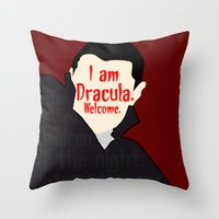 dracula Throw Pillows featuring Dracula by Swell Dame