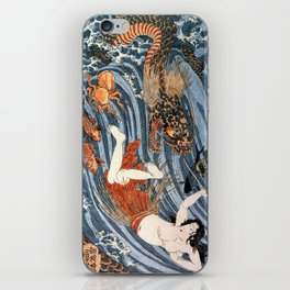 Tamatori being pursued by a dragon iPhone Skin